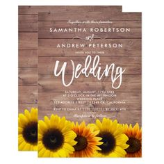 Brown wood sunflowers typography rustic wedding card #Elegant handpainted #watercolor #weddinginvitations Make your day special with these unique #wedding #invitations ideal for your wedding #party #cards and #stationary