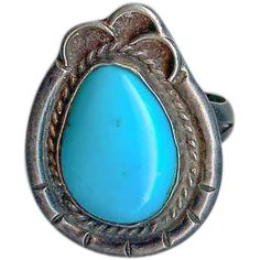 Old Pawn 1950's Navajo Sterling Silver Bluest Natural Turquoise Ring Size 6.25
