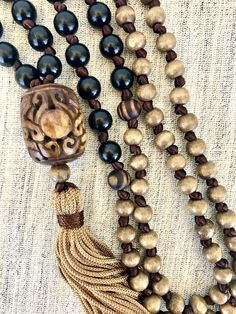 Black brown mala necklace wood mala necklace wooden beads mala necklace tassel necklace yoga mala bone mala necklace meditation necklace by Katiaicrafts on Etsy