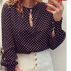 Super cute chiffon polka dot blouse Super cute chiffon polka dot long sleeve blouse. Navy Blue. Size Large, fits 36 C-D, brand new never worn  I do not trade and discounts are on bundles  only! Tops Blouses