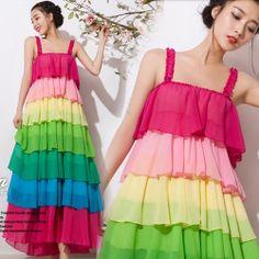 2014 new summer women's chiffon long princess dress designer sweet color bohemian rainbow beach maxi dress Free shipping $36.87