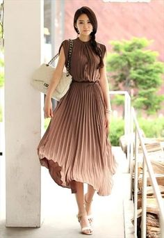 Brown pleated secretary maxi