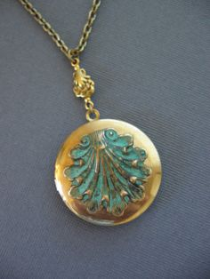 By the Sea Vintage LOCKET Necklace by CharmedValley on Etsy, $32.00