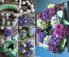 Hydrangea Paper Wreath Tutorial