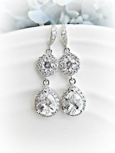 Rhinestone Bridal Earrings - Medium Length - Wedding earrings - cubic zirconia - circle - round setting - sterling silver ear wire by AliChristineBridal on Etsy https://www.etsy.com/transaction/1077335846