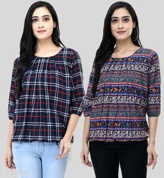 Checkout this latest Tops & Tunics Product Name: *Women's Beautifull Crepe Printed Top For Women* Fabric: Crepe Sleeve Length: Three-Quarter Sleeves Pattern: Printed Multipack: 2 Sizes: S, M (Bust Size: 36 in, Length Size: 26 in)  L, XL, XXL Country of Origin: India Easy Returns Available In Case Of Any Issue   Catalog Rating: ★3.9 (896)  Catalog Name: Trendy Fabulous Women Tops & Tunics CatalogID_2095887 C79-SC1020 Code: 434-11230840-4011