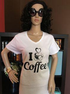 I Love Coffee Women's Graphic V-Neck T-Shirt