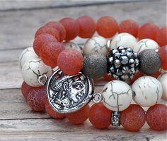 Red Crackle Glass Bracelet Stack