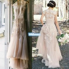 Vintage Blush Tulle Wedding Dresses 2016 A Line Sheer V Neck Applique Floor Length Custom Made Plus Size Outdoor Bridal Wedding Gowns Cheap Short Bridal Gowns Simple Wedding Gown From Whiteone, $153.26| Dhgate.Com