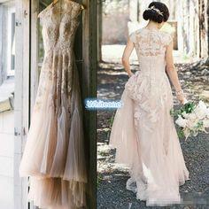 Vintage Blush Tulle Wedding Dresses 2016 A Line Sheer V Neck Applique Floor Length Custom Made Plus Size Outdoor Bridal Wedding Gowns Cheap Short Bridal Gowns Simple Wedding Gown From Whiteone, $153.26| Dhgate.Com