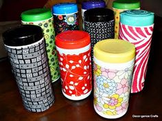 Decorative Disinfectant Wipes - I did this but used duct tape to decorate the wipes, for fun.