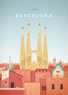 Barcelona Travel Poster Vintage Barcelona Travel Poster by Henry Rivers for TRAVEL POSTER Co.