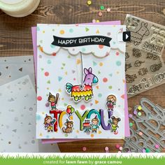 Lawn Fawn Intro: Tiny Birthday Friends, Confetti Stencils, Giant Happy Birthday and Giant Happy Birthday To You - Lawn Fawn Friend Birthday, Happy Birthday, Birthday Bash, Lawn Fawn Blog, Beautiful Birthday Cards, Birthday Sentiments, Lawn Fawn Stamps, Rainbow Paper, Happy Design