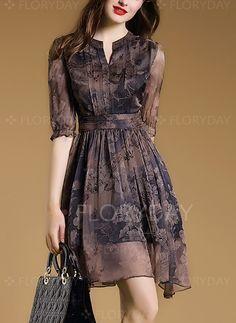 Dresses - $56.25 - Polyester Floral Half Sleeve Above Knee Vintage Dresses (1955104822)