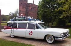 Ecto-1: (Ghostbusters- 1984), (Ghostbusters 2- 1989) If you see this vehicle out on the road, you know someone has a huge problem.