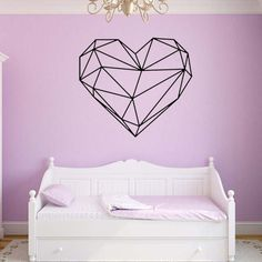 Creative Geometric Heart Shape Wall Stickers Home Decoration for Bedroom Living Room PVC Stickers Poster Home Decor Bedroom Stickers, Wall Decor Stickers, Diy Wall Decor, Home Decor, Wall Decorations, Bedroom Wall Colors, Bedroom Decor, Wall Color Combination, Geometric Heart