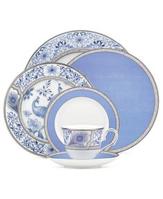 Marchesa by Lenox Dinnerware, Sapphire Plume Collection - Fine China - Dining & Entertaining - Macys Bridal and Wedding Registry