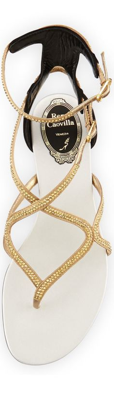 Rene Caovilla Crystal Strappy Flat Ankle-Wrap Sandal | The House of Beccaria~