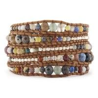 Multi Graduated Wrap Bracelet with Silver Nuggets on Natural Brown Leather  $230.00