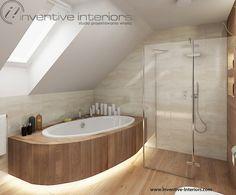 Projekt łazienki Inventive Interiors - podświetlona wanna pod skosem
