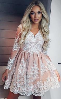 On Sale Substantial Homecoming Dresses Short See Through Long Sleeve Lace Homecoming Dresses Vintage Short Prom Dress Long Sleeve Homecoming Dresses, Lace Homecoming Dresses, Dresses Short, Sweet 16 Dresses, Party Dresses, Elegant Dresses, Sexy Dresses, Dress Party, Summer Dresses