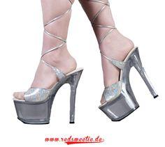 Pleaser Sandale Silver multi Glitter Größe US 9 ca. 40 EUR