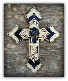XLarge Wall CROSS 5 layers, Leopard, antiqued beige and black