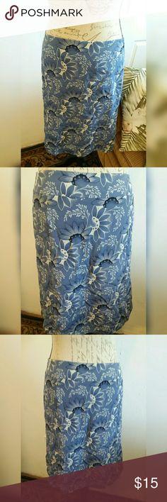 Ann Taylor Loft Skirt Beautiful blue pattern Ann Taylor Loft Skirt, size 10, Made In Philippines Ann Taylor Loft  Skirts A-Line or Full