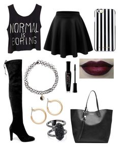 Black by alex-nc2002 on Polyvore featuring polyvore, LE3NO, Stuart Weitzman, Alexander McQueen, Kendra Scott, Nordstrom, Accessorize, MICHAEL Michael Kors, Bourjois, fashion, style and clothing