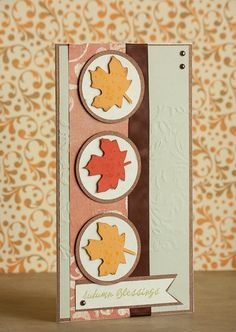 Items similar to Leaf Card, Fall Card, Autumn Blessings Handmade Greeting Card with Fall Leaves on Etsy Invitation Paper, Invitations, Leaf Cards, Unique Cards, Fall Cards, Fall Leaves, Greeting Cards Handmade, Scrapbook Paper, Blessings