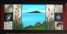 """Rangitoto, Flax & Bullrushes"" Painting by Astrid Rosemergy, 2008"