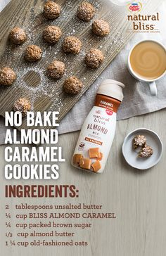 For an easy dessert that takes little to no time, these No Bake Almond Caramel Cookies from natural bliss® are the perfect treat! Cookie Desserts, Easy Desserts, Cookie Recipes, Delicious Desserts, Dessert Recipes, Yummy Food, Vegan Desserts, Almond Butter, Almond Milk