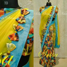 Buy this @ srisa Fabric used : Printed Rawsilk and Net  Embellishment used : colorful Bows