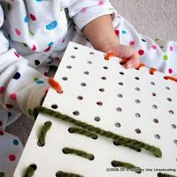 - Lacing = an activity that promotes fine motor skill development  - from 30 Kids Activities & Materials for Promoting Fine Motor Skills | hands on : as we grow
