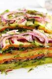 Stacked Summer Vegetable Salad - vegan, vegetarian, gluten free - FoodSniffr For Healthy & Responsible Living Raw Food Recipes, Veggie Recipes, Healthy Dinner Recipes, Salad Recipes, Vegetarian Recipes, Cooking Recipes, Vegan Vegetarian, Cooking Tips, Raw Vegan