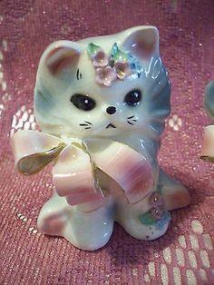 VTG Josef Puff & Fluff Kitty Cat Kitten ALL Tags Figurine Set FOR SPECIAL EBAYER