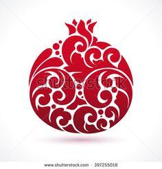 Decorative ornamental pomegranate fruit isolated on white. Vector abstract pomegranate illustration logo design element for packaging design, banner, poster, business sign, identity, branding
