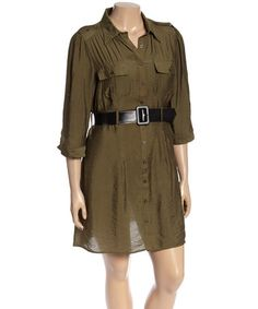 Look what I found on #zulily! Dark Olive Shirt Dress - Plus #zulilyfinds