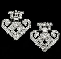 CARTIER  Art Decó Diamond Clips