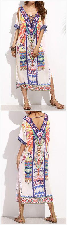 594804fee22d0 V Neck Short Sleeve Backless Lace up Side Slit Midi Dress - OASAP.com