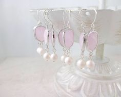 Pink and silver Swarovski pearl earrings #wedding #etsy #gift #bridesmaids