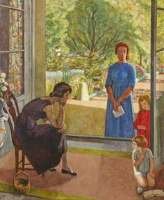 ✽ vanessa bell - 'figure group with the artist, another woman and two children by french windows' - oil on canvas Vanessa Bell, Virginia Woolf, Dora Carrington, Duncan Grant, Bell Art, Bloomsbury Group, Post Impressionism, Art Uk, Your Paintings