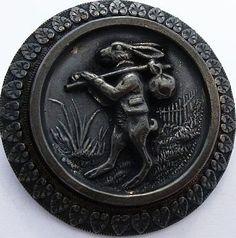 1940's Rabbit Antique Metal Button.