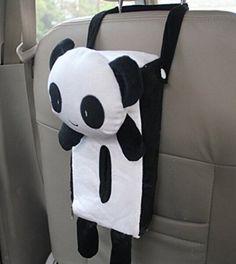 Auto Interior Accessory Cartoon Tissue Bag Bear Hanging Home Office Car Seat Back Tissue Box Cover Holder Paper Box (panda)