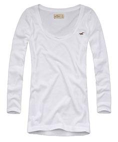 Camiseta Hollister manga 3/4 com águia bordada no peito. Gola canoa. Tecido com elastano. Produto original. Encontre em: www.figoverde.com.br