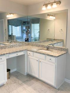 DIY: How to Frame A Builder-Grade Bathroom Mirror - Home and Hallow Diy Mirror Frame Bathroom, Master Bathroom, Bathroom Ideas, Painting Mdf Board, Cloak Room, Touch Up Paint, Builder Grade, Moldings And Trim, Bathroom Interior