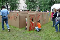 "Cardboard box maze - Maybe this could be a ""cave crawl""?"