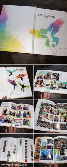Photos in middle of portrait grid-imagine yearbook theme with watercolor splashes Middle School Yearbook, Yearbook Class, Yearbook Pages, Yearbook Spreads, Yearbook Covers, Yearbook Layouts, Yearbook Design, Yearbook Theme, Yearbook Ideas