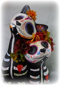 Dia de los Muertos Cats ... now available 150.00 - contact me