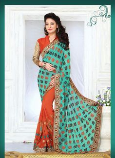 Modern Brasso Georgette Orange Embroidered Work Designer Saree